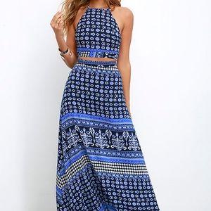 Lovely Blue Print Dress from Lulu's